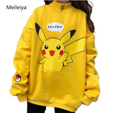 2019 Autumn Women Hoodies Turtleneck Pikachu Print Sweatshir