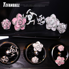 2Pcs/Set Fashion Exquisite Camellia Car Air Freshener Conditioning Vents Perfume Clips Interior Diffuser