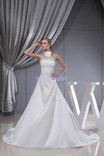 free shipping 2013 new design sale princess dress handmade flower halter custom size with train bridal gown white wedding