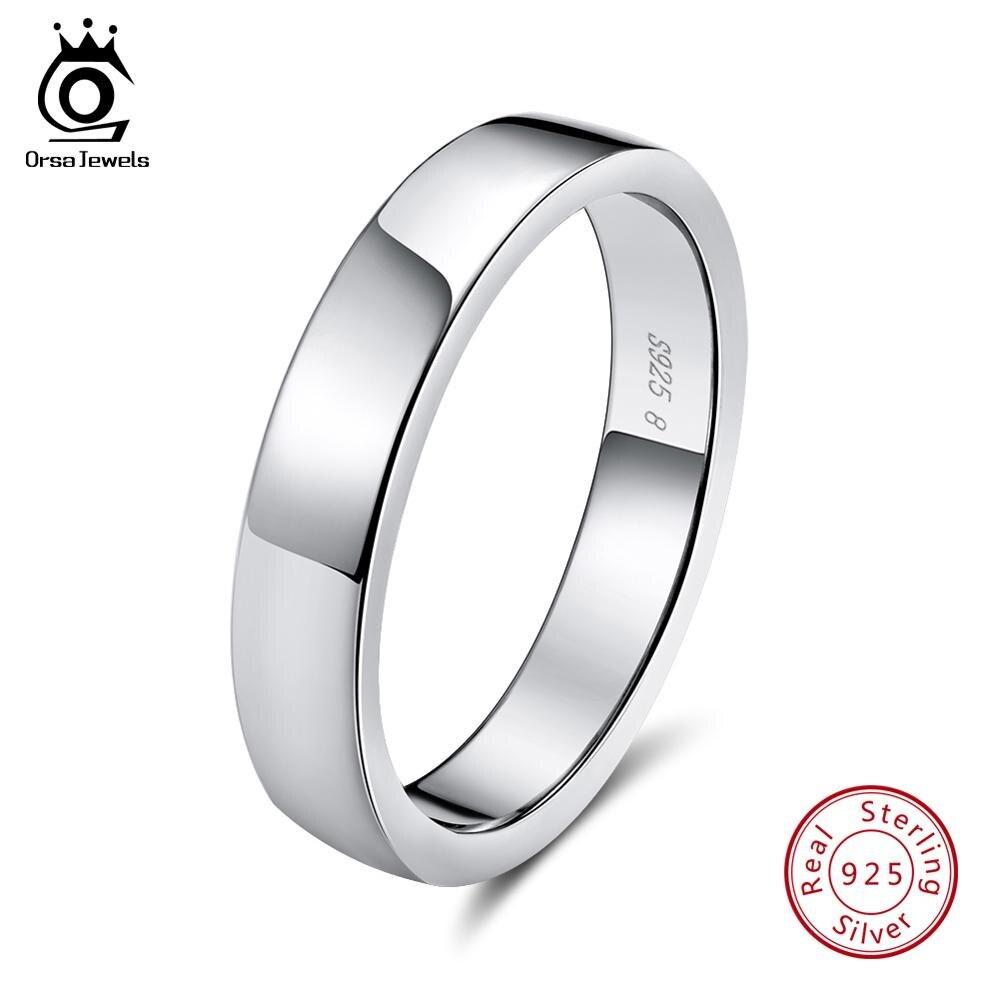 ORSA JEWELS 100% Real 925 Sterling Silver Women Rings Sample Korean Style Finger Ring Men Wedding Band Fine Jewelry Gift OSR73