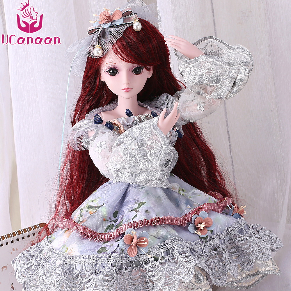 Ucanaan 13 Bjd Doll 60Cm Princess Girls Toys With All Outfit Dress Shoes Wig Makeup Children -9118