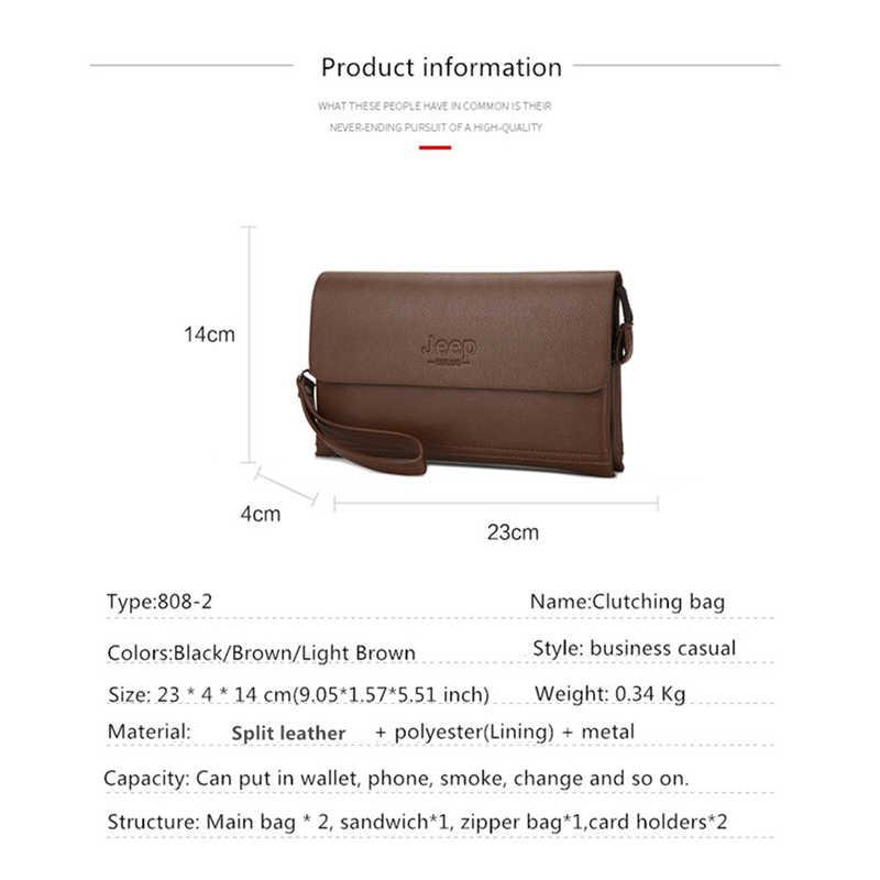 1bd0710f1 ... JEEP BULUO Luxury Brand Male Leather Purse Men's Clutch Wallets Handy Bags  Business Carteras Mujer handbag ...