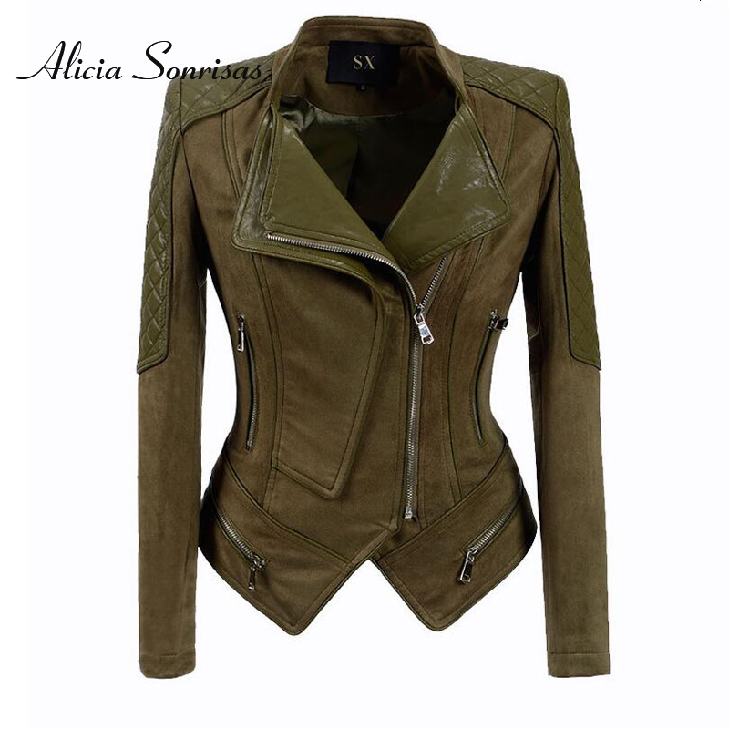 Plus Size S To 4XL 5XL 6XL Women PU Leather Jacket Suede Biker Motorcyle Coat Plus Size Camel Green Punk Street Outerwear Z07