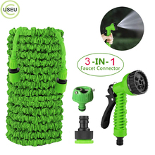 USEU 25FT 50FT 75FT 100FT 150FT Expandable Garden Hose Car Watering Plants No Kink Water With 7 Function Spray Nozzle Gun