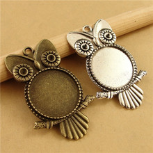 10pcs/lot Antique Bronze Owl Pendant Settings Cabochon Base Bezel Trays Blank Fit 20mm Glass Cabochons DIY Necklace Making
