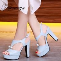 New Sexy 12 Cm Thick Heel Platform High Heels Big Size 31 43 Summer Women Shoes