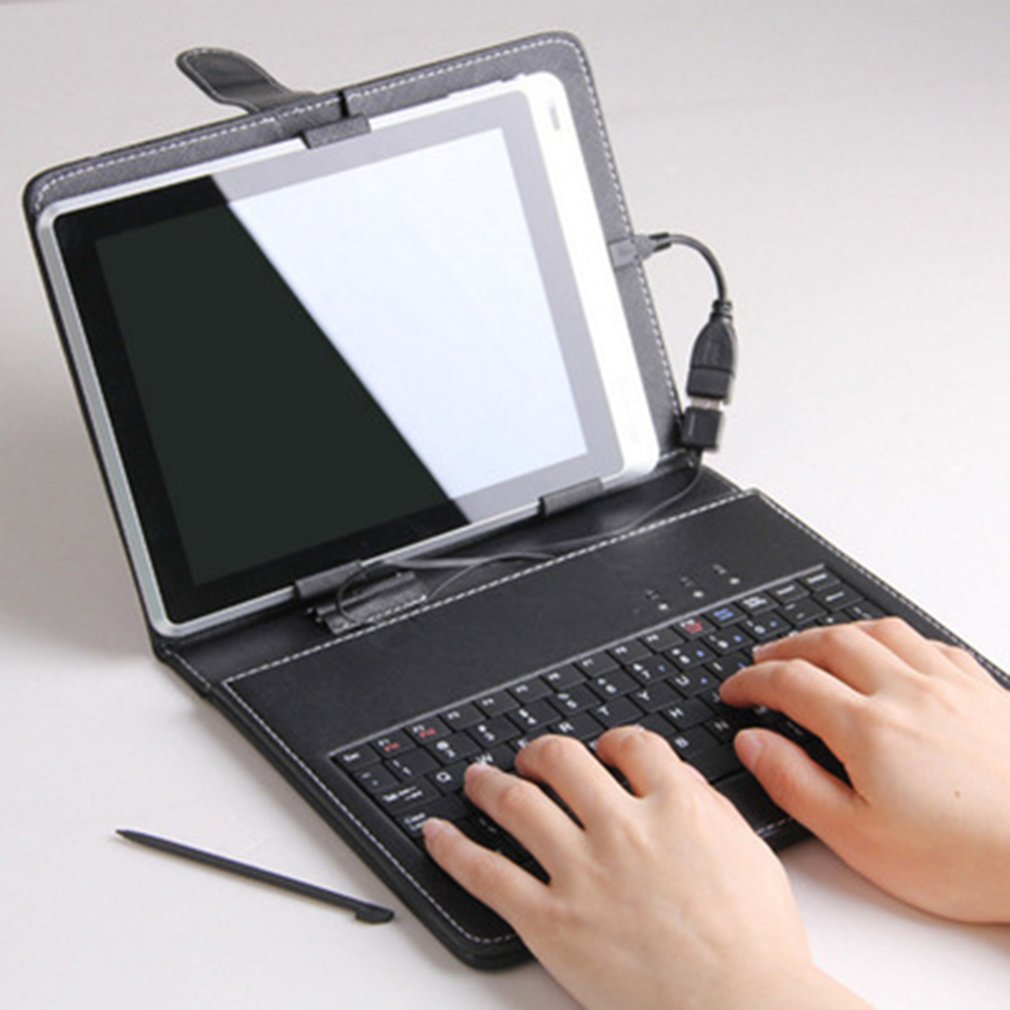 7 Inch Imitation Leather Case Cover USB Keyboard for Android Windows Tablet(China)