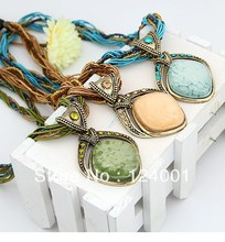 Vintage Bohemian Imitation Gemstone Jewelry Handmade Beads Chain Necklaces Pendants