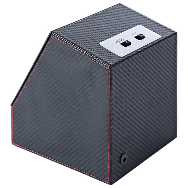 Watch Winder Carbon Fiber Auto Silent Transparent Cover Wristwatch Box with EU Plug