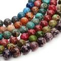 Muiltcolors Ronda Cuentas de Piedras Naturales 8mm Jaspe Imperial rocallas Sueltas para Hombre para Mujer DIY Pulseras Collar Que Hace F3046