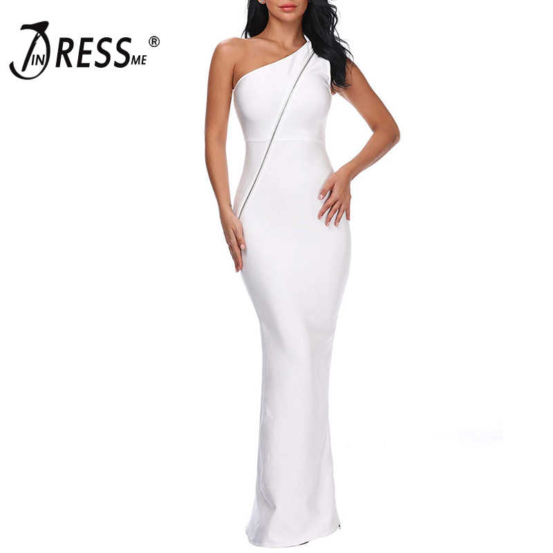 2140a91e6e7 INDRESSME Облегающее с открытым плечом Разделение Для женщин Бандажное  платье Элегантное молнии Hollow Slash шеи пол