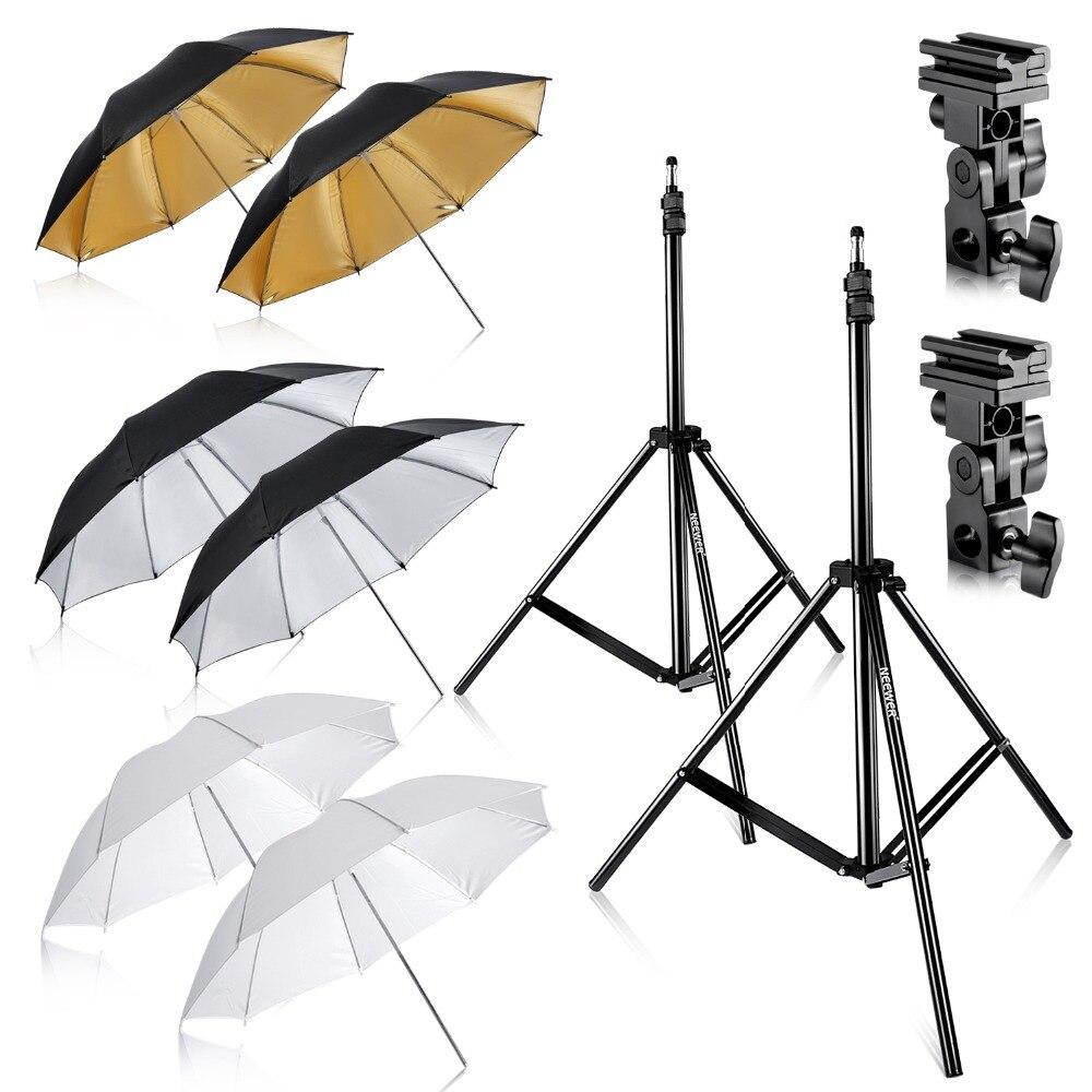 Neewe Photo Studio 2 * Kit trois parapluies (2) blanc doux parapluie + (2) argent parapluie réfléchissant + (2) or parapluie réfléchissant