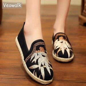 Image 1 - Veowalk Harajuku/женские парусиновые Эспадрильи на плоской подошве с вышивкой; Женские лоферы из льна и хлопка; Удобные женские кроссовки ручной работы