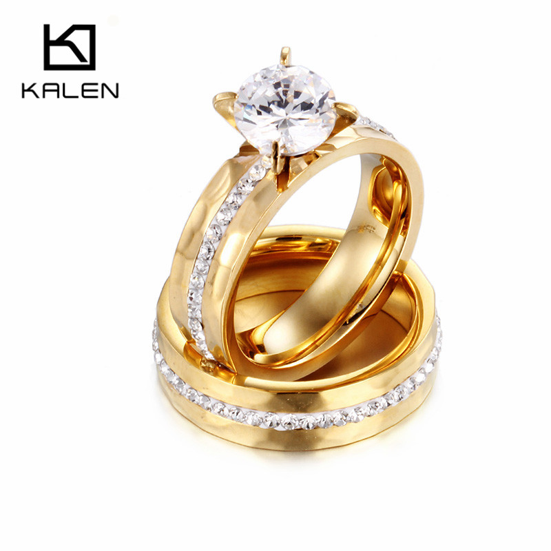 Kalen Bulgaria Rings Perhiasan Stainless Steel Warna Emas Pasangan Janji Rings Wanita Kristal Cinta Bang Engagement Rings