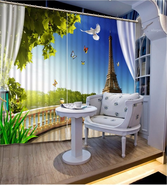 eiffel tower design curtains blackout curtain for window living