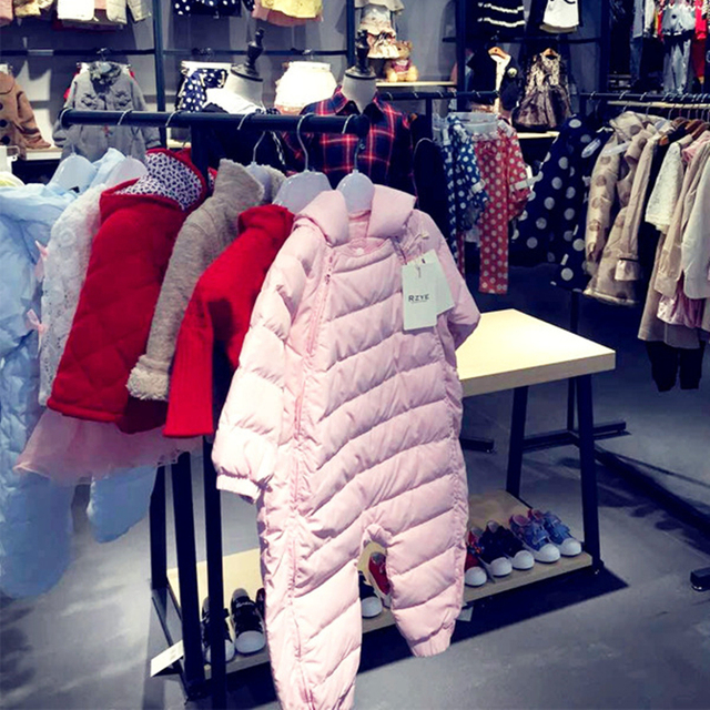 Baby Girl Romper Winter Boy Clothes 2017 Filler Duck Plush Keep warm Clothes for Newborns Overalls+Gloves+Socks infantil 3Pcs