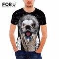 Forudesigns cão engraçado t-shirt dos homens 3d impressão miau estrela do hip Hop Dos Desenhos Animados Camisetas Verão Tops Moda Piratas do Caribe Tees