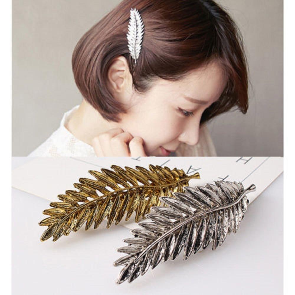 1 Pc Elegant Women Gold Silver Women Feather Leaf Leaves Barrette Hairpin Hair Clip Barrette Headwear Triangle Hair Accessories