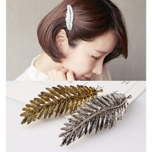 1 Pc Elegant Women Gold Silver Feather Leaf Leaves Barrette Hairpin Hair Clip Headwear Triangle Accessories