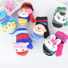 2-6 Years Kids Gloves Boys Girls Plus Velvet Knitted Gloves Fingerless Winter Plush Warm Mittens Cute Cartoon Children Gloves недорго, оригинальная цена