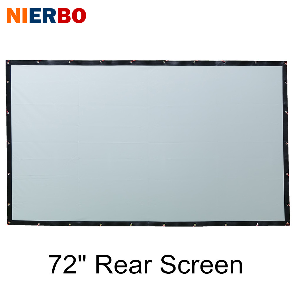NIERBO Portable Projector Screen 72 Inches 16:9 4:3 Rear Projection Foldable Eyelets PVC Hanging Ceiling Screens without Frame 72 inches and the authenticity of the tripod white plastic screen projector projector screen