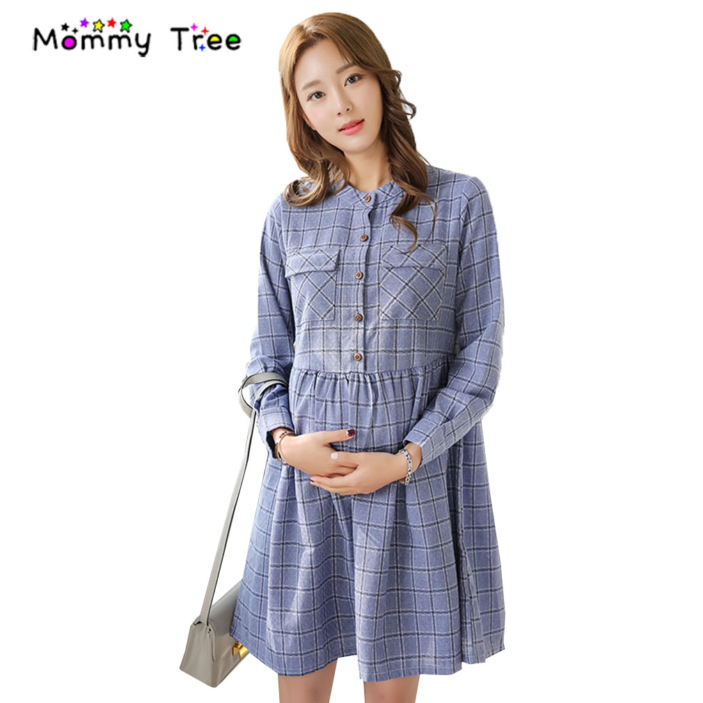 Online get cheap clothes for pregnant women formal aliexpress spring long sleeve plaid pregnancy shirt dresses o neck maternity clothes fashion maternity clothing for ombrellifo Image collections