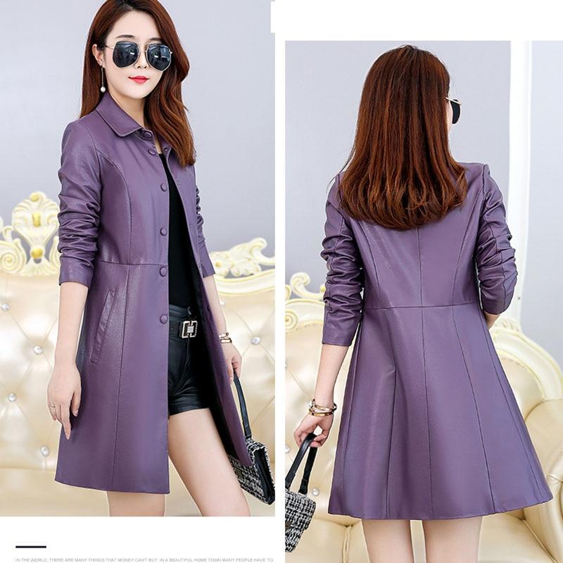 Coton Printemps Veste Nouvelle Taille purple Bureau Black 2019 Femelle Automne red Mince Ajouter Chaud Ok656 En Grande Casual Femmes Manteau Cuir EI29WHD