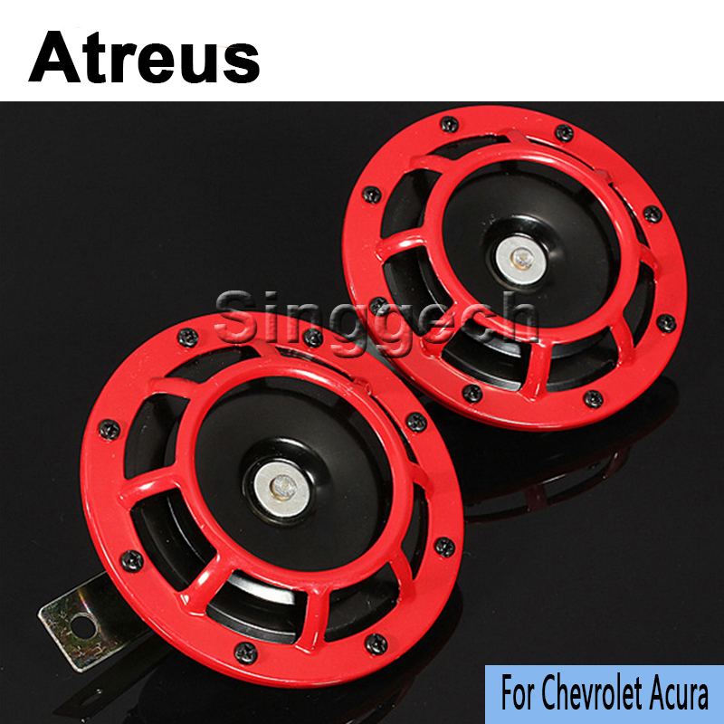 Atreus1set Car Red Electric Blast Tone Horn Kit For Chevrolet Cruze Aveo Captiva Lacetti Acura MDX RDX TSX Car-styling Covers 12v car red electric blast tone horn kit for lexus rx nx gs ct200h gs300 rx350 rx300 for alfa romeo 159 147 156 166 gt mito