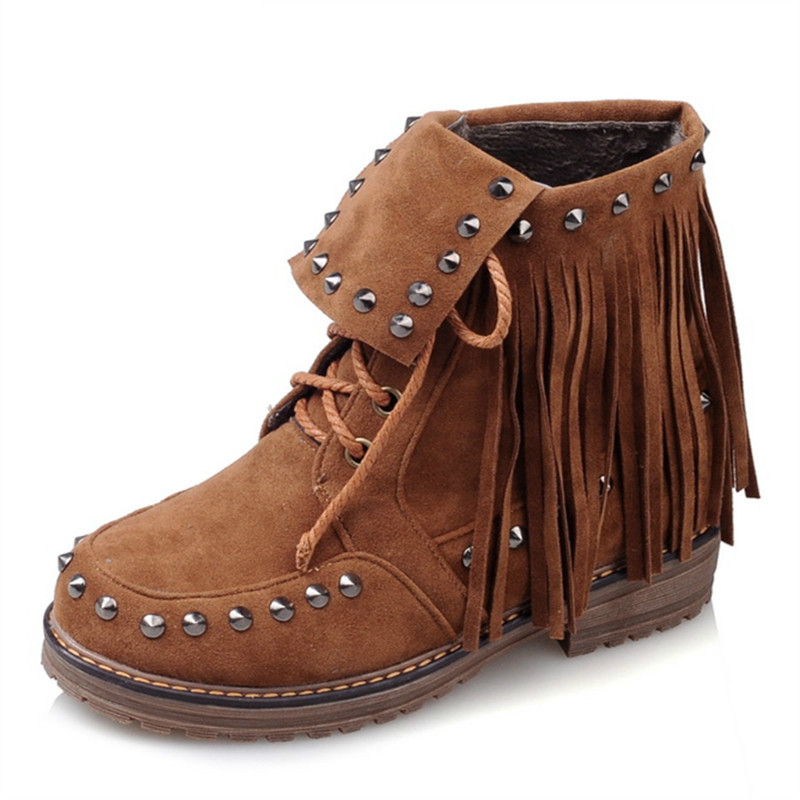 MoonMeek Restoring rivets tassel ankle boots new arrive fashion women boots pu nubuck leather square heels winter boots