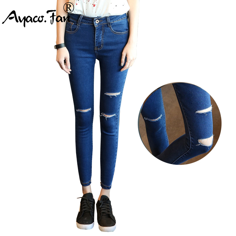 2017 Autumn Women Ankle-Length Elastic Black Jeans Students High Waist Stretch Skinny Female Pencil Pants Denim Ladies Trousers new autumn beadings bf women jeans high waisted pearls black jeans for ankle length boyfriend denim pants female