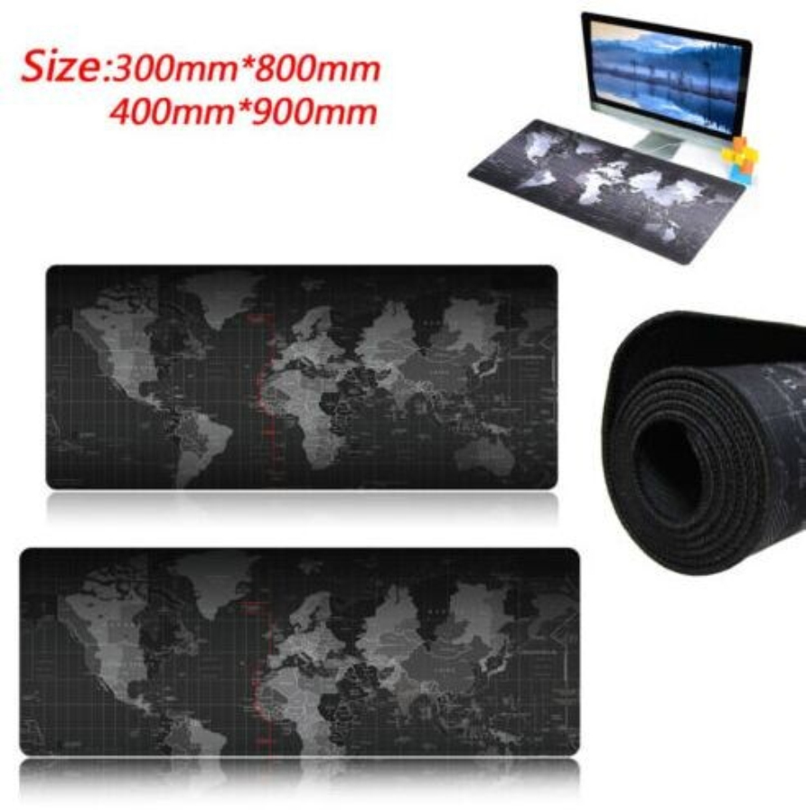 800x400 / 700x300 / 800x300 / 600x300mm World Map Låsekanten Musemåtte Gamer Stor Størrelse Computer Keyboard Matbord Gaming Mousepad