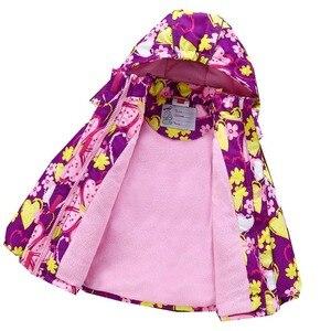 Image 3 - Fashion Heavyweight Children Outfits Waterproof Purple Printing Baby Girls Jackets Warm Cotton Winter Child Coat 3 12 Years Old