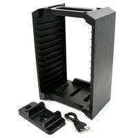 BEESCLOVER Game Disk Tower Vertical Stand Charger for PS4 Dual Controller Charging Dock Station for PlayStation 4 PRO Slim r25