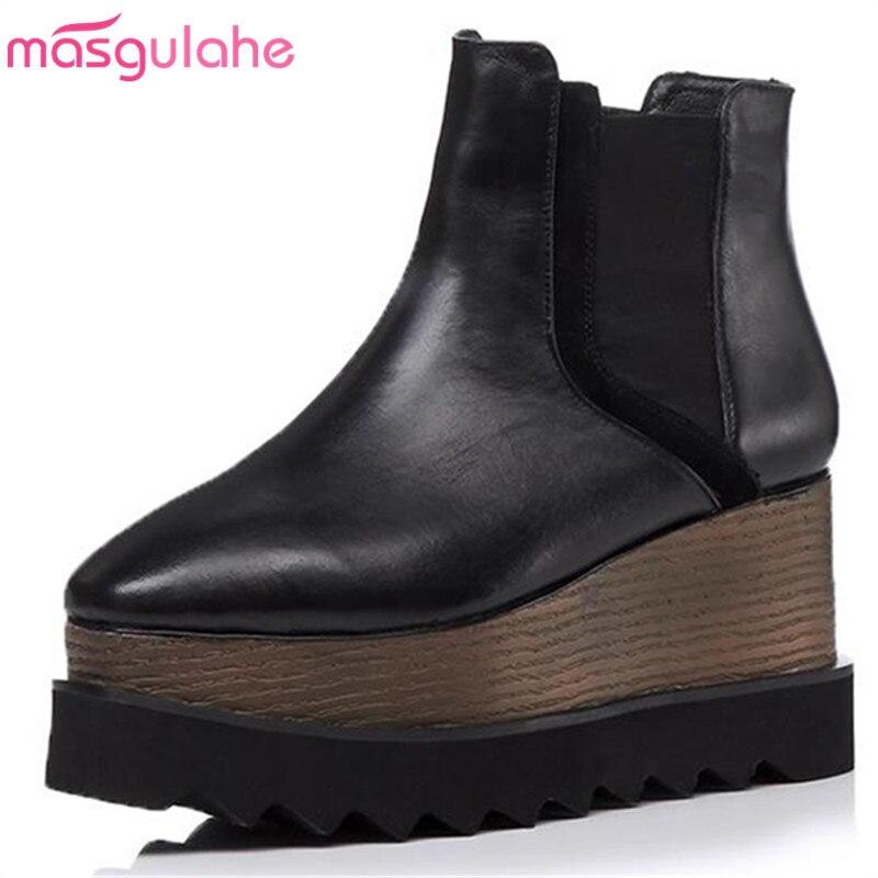 Cuir Véritable Plate Masgulahe De Femme Élastique Black Carré En Bande Pratique Automne Bottes Chaussures Orteil 2018 Cheville Mode forme TXOkZPiu