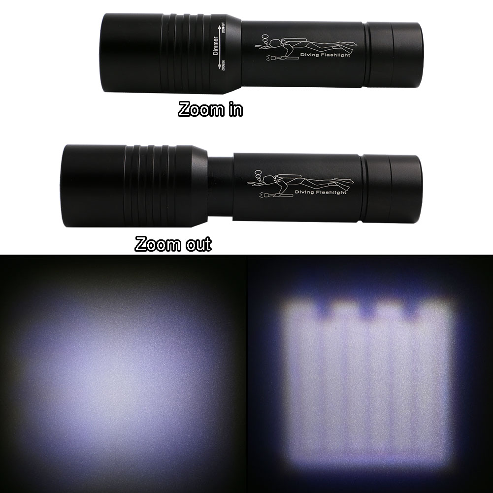 Best Diving Torch Flashlight 3800LM XML-T6 LED Zoomable Focus LED Diving Flash Light Underwater 50M Effective Diving Light Lamp 6000lumens bike bicycle light cree xml t6 led flashlight torch mount holder warning rear flash light