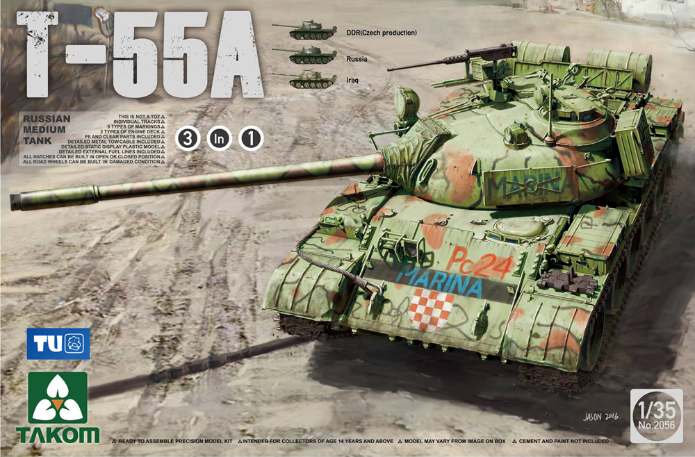 Takom 1/35 Russian Medium Tank T-55 A [3 In 1] #2056