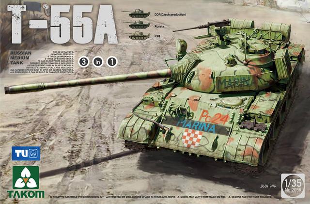 Takom 1/35 Russo T-55 Tanque Médio Um [3 em 1] #2056