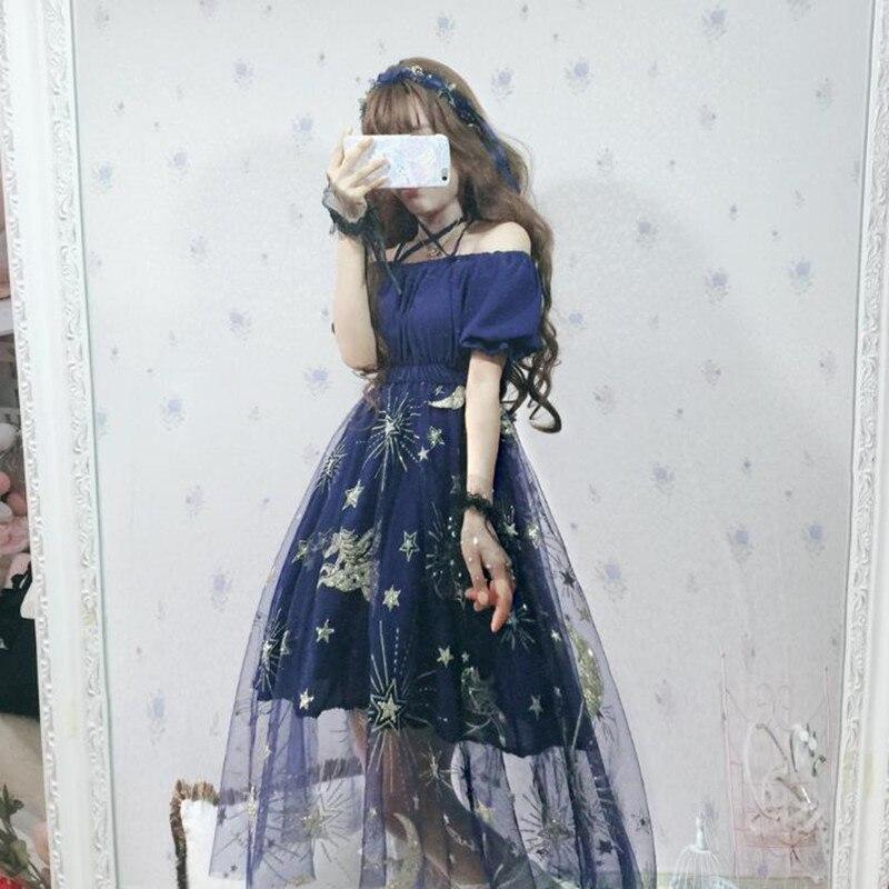 Robe Lolita douce étoile écran rêve doré bronzant Slash cou Kawaii fille thé Party gothique Lolita Op Loli Cos robe victorienne