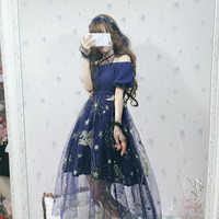 Sweet Lolita Dress Star Screen Dream Golden Bronzing Slash Neck Kawaii Girl Tea Party Gothic Lolita Op Loli Cos Victorian Dress