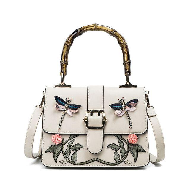fashion women bamboo handle handbag floral falp messenger bags hard embroidery appliques crossbody Shoulder bags zipper 4 color