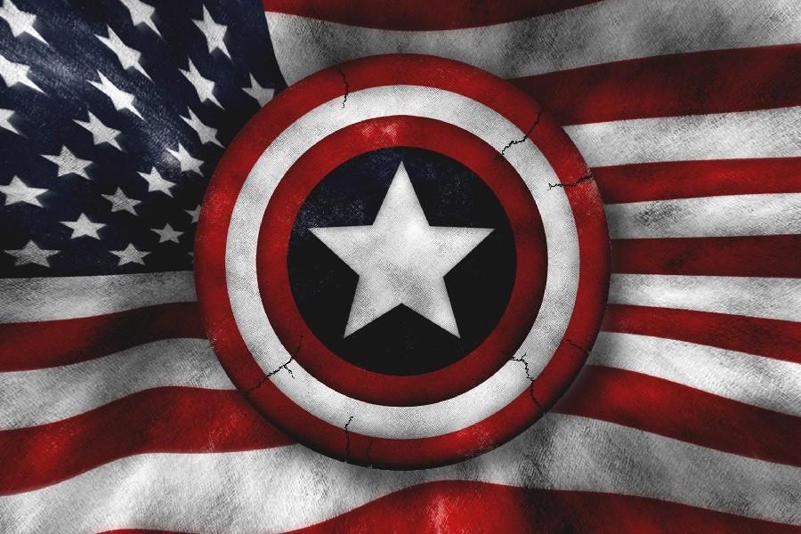 ᐃcaptain america flag art poster silk fabric cloth print wall