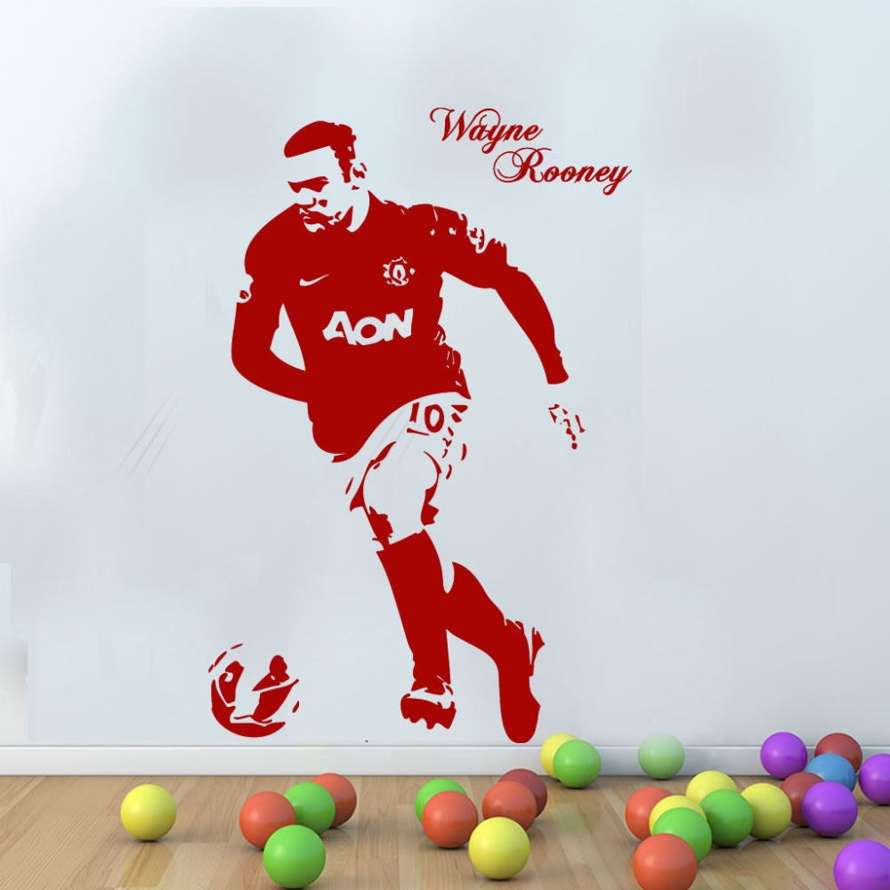 Man united wayne rooney football wall art personalised any name free squeegee kids decal sticker custom made 2 sizes