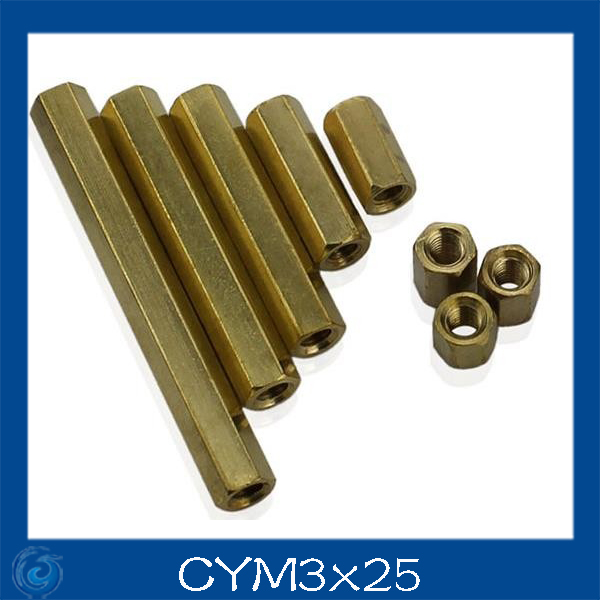 M3*25mm Double-pass Hexagonal Screw nut Pillar Copper Alloy Isolation Column For Repairing New High Quality