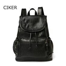 Ciker новый бренд черная мягкая кожа рюкзак женщины мода туризм рюкзаки для девочек-подростков высокое качество mochila эсколар mujer