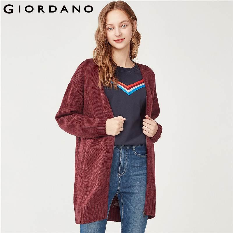 Giordano Women Cardigan Knitted Thick V neck Long Style Sweater Cardigan Women Warm Zip Placket Slant