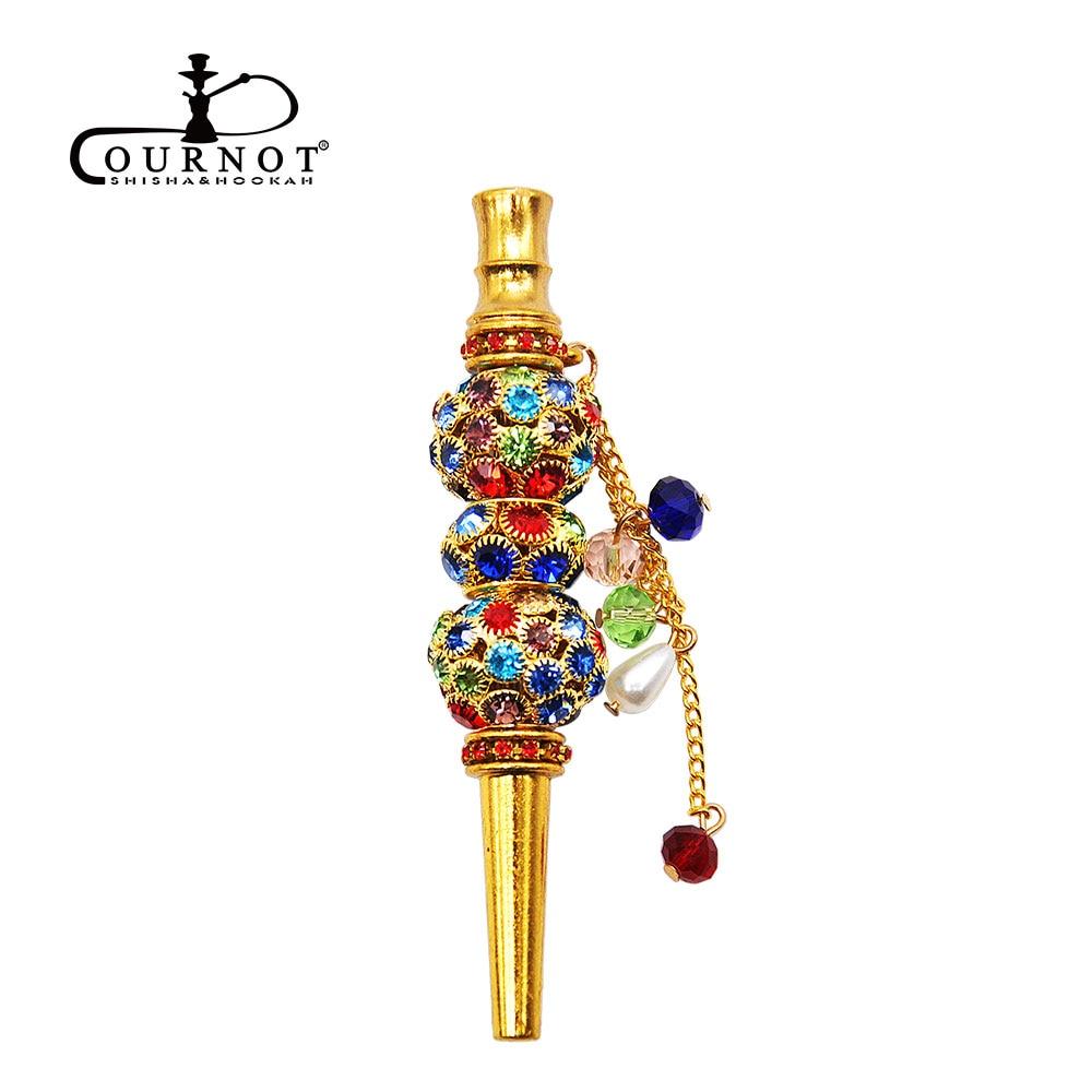 COURNOT Handmade Inlaid Jewelry Hookah Mouthpiece Metal Shisha Mouth Tips Sheesha Chicha Narguile Hose Accessories