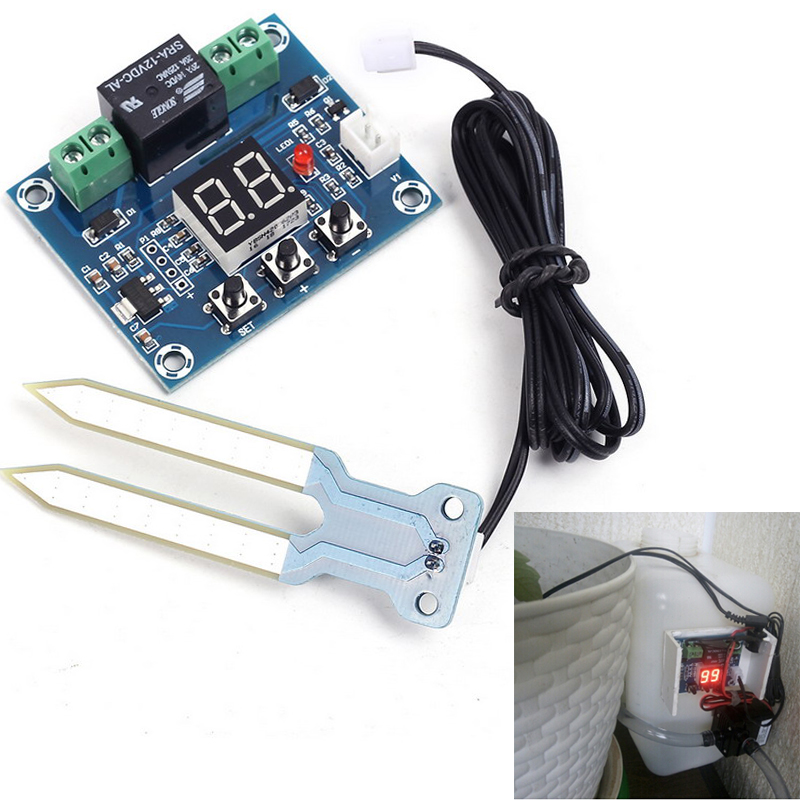 XH-M214 Humidity Controller Soil Sensor Module 20-99%RH Automatic Control Irrigation Computer System Red Digital Display Module