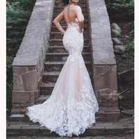 Champagne Wedding Dress Mermaid 3D Flowers Lace Backless Off Shoulder Trumpet Bridal Gown Trouwjurk Vestido De Noiva