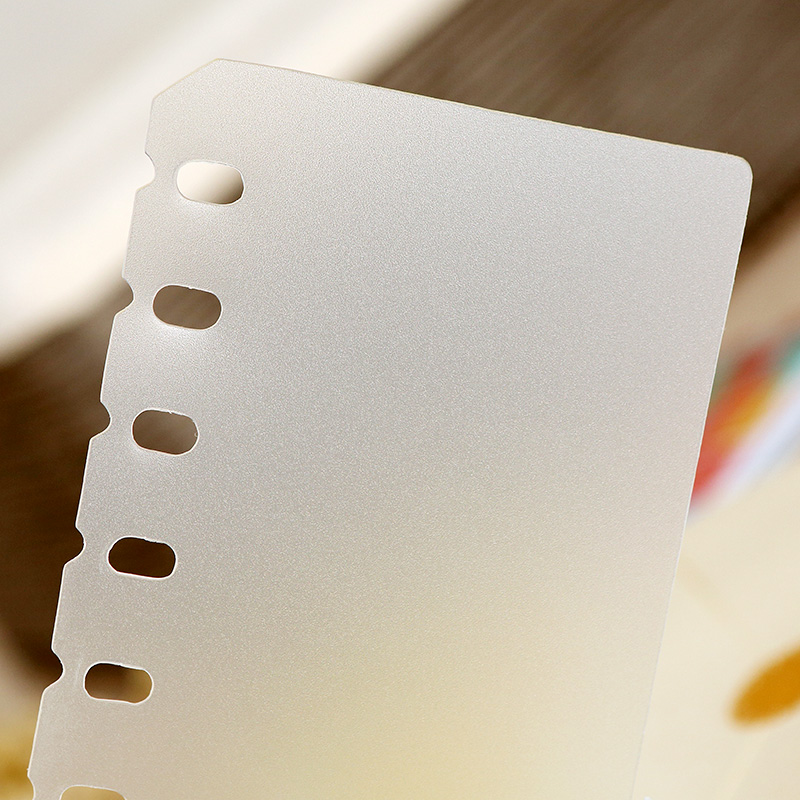 A5 A6 PP Binder Divider 6 Holes Filler Frosted Planner Inner Pages Spacer Page Separator Divider Plate For Spiral Notebook Binde