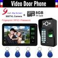 """9"""" Touch Monitor Fingerprint/Code Unlock Video Record Video Door Phone Intercom Doorbell Door bell Doorphone with 8GB TF card"""